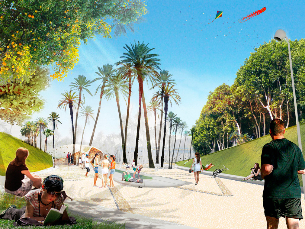 Valencia parque central proposal by west 8 for Benicalap piscina