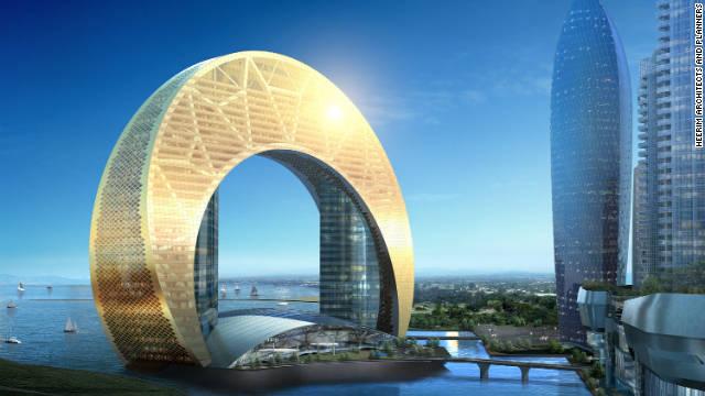 Half moon rising: Hotel Crescent, planned for Bakus shoreline, looks more Dubai than Caspian.
