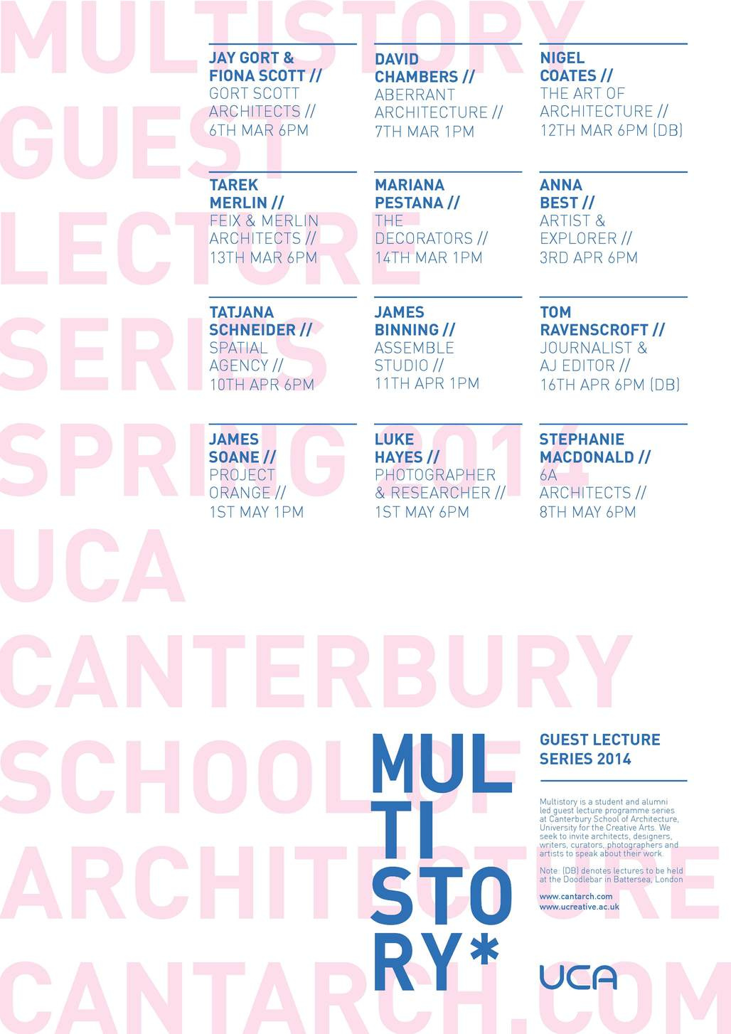 Multistory Spring 14 Lecture Series at the UCA Canterbury School of Architecture. Image via cantarch.com.