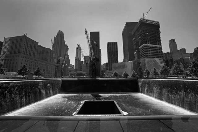 The September 11 Memorial consists of two 30-foot deep pools in the footprint of the original Twin Towers. Credit: Carolyn Cole/Los Angeles Times