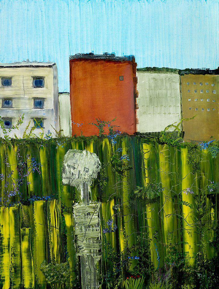 "I am thankful for my skeleton. He is still in the garden - Oil on linen 26"" x 36"" by John Lurie."