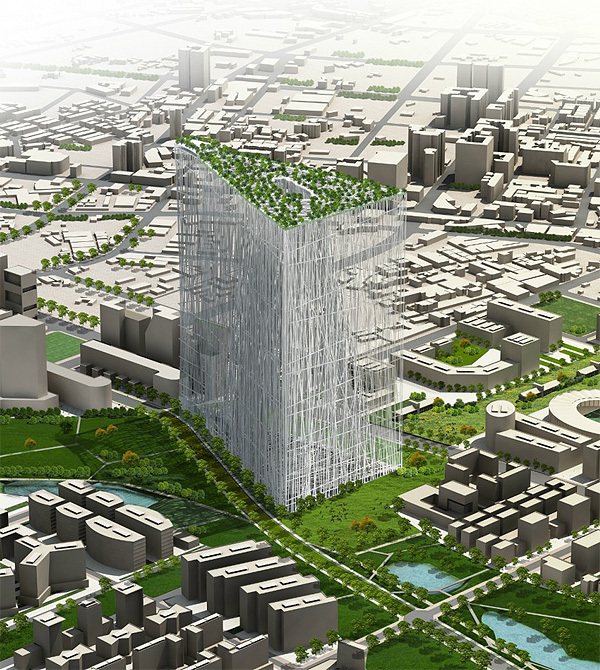 Rendering of the proposed Taiwan Tower designed by Sou Fujimoto Architects.