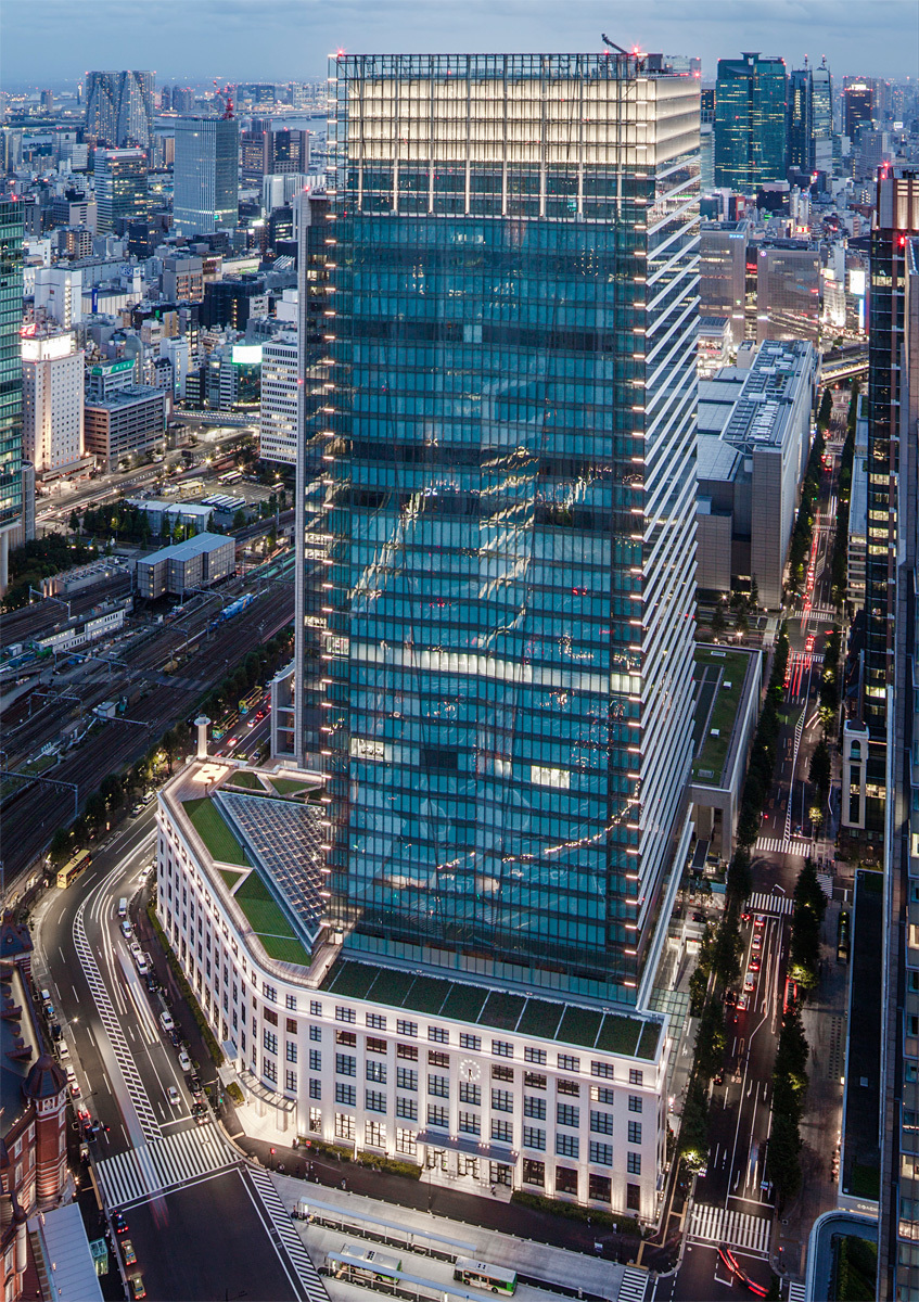 Birds-eye view of the soon-to-be-opened Japan Post Tower in Tokyo (Photo courtesy of JAHN)