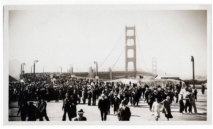 In 1933, the Standard Oil Company sent employee Ted Huggins to photograph the bridges construction. Huggins visited the site weekly for three years and produced hundreds of photographs, which he offered to news outlets covering the project. Huggins took this picture on the bridges opening day on May 27, 1937. (Image credit: Ted Huggins/Chevron Corporation)