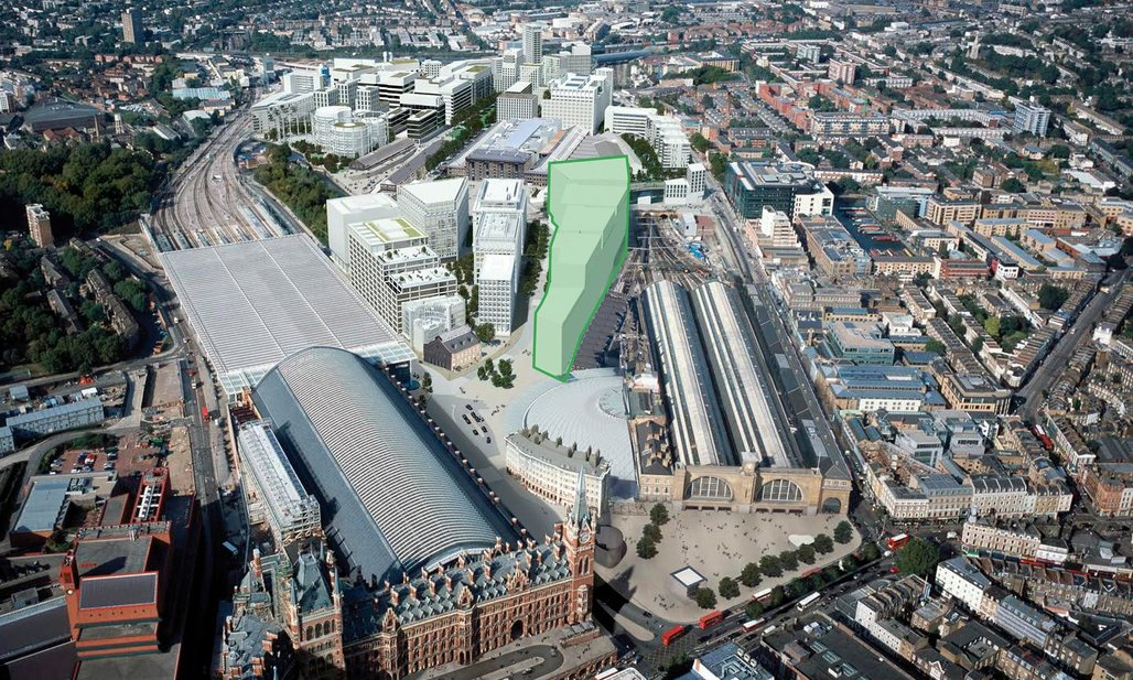 The site of the new Google headquarters between St. Pancras station and Kings Cross. Image credit: Google