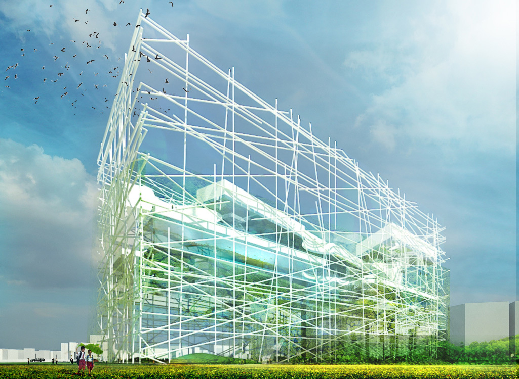 Exterior rendering of the Taichung City Cultural Center Entry by OXO Architects + Nicolas Laisné Architecte Urbaniste