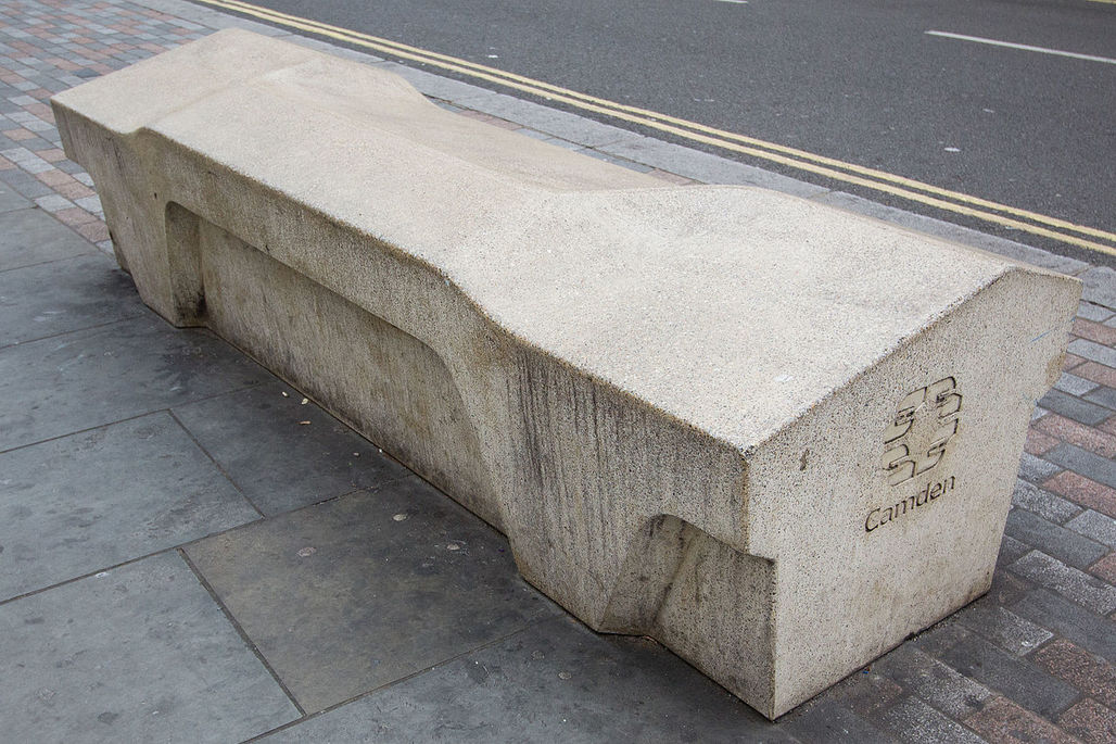 """Resilient, obstinately practical, and supposedly crime-proof"" by design: the Camden Bench. (Image: Wikipedia)"