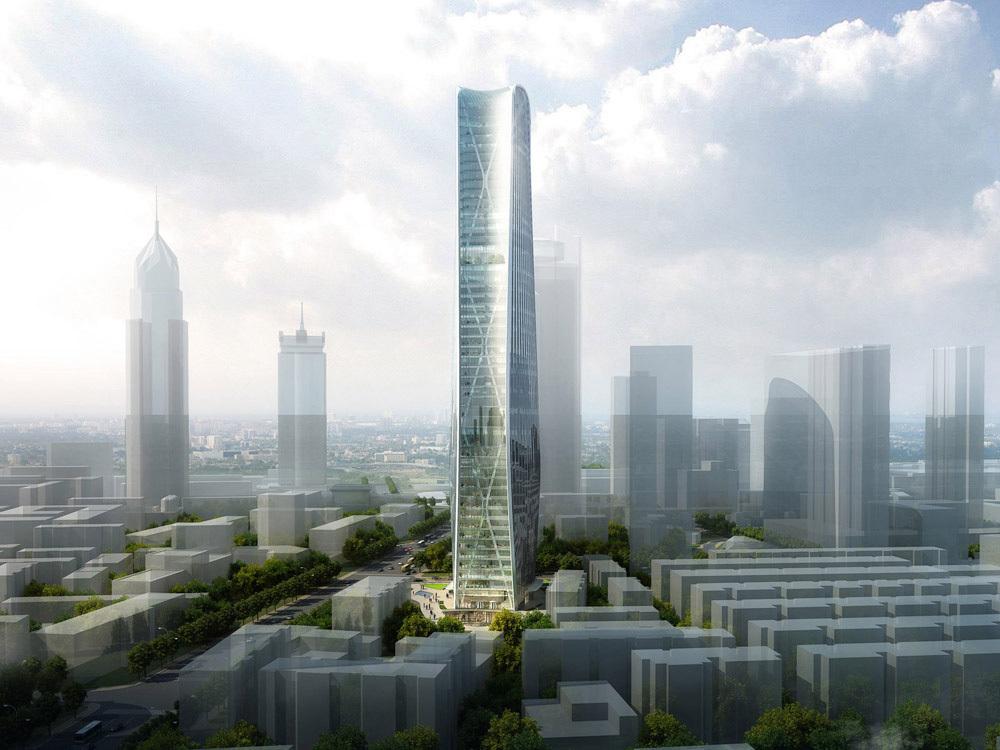 HENN's winning design for the new Cenke Tower in Taiyuan, China. Visualization © HENN