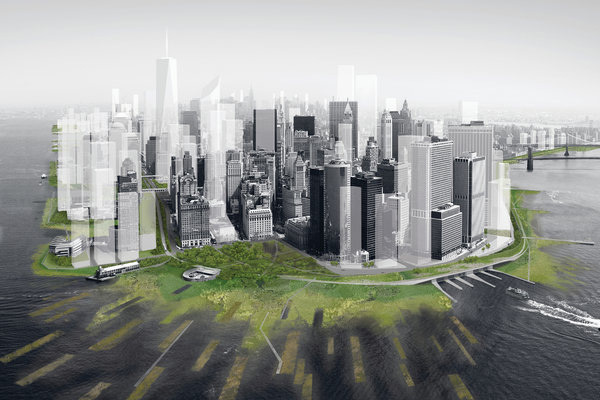 A rendering of a plan for Lower Manhattan with tidal marshes and wetlands that could absorb storm surges, created by the Architecture Research Office and dlandstudio. Image credit: Architecture Research Office and dlandstudio