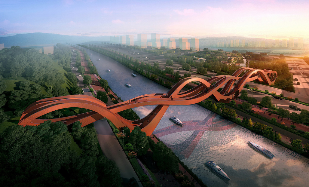The winning bridge design by NEXT for Meixi Lake, China. Image courtesy of NEXT.