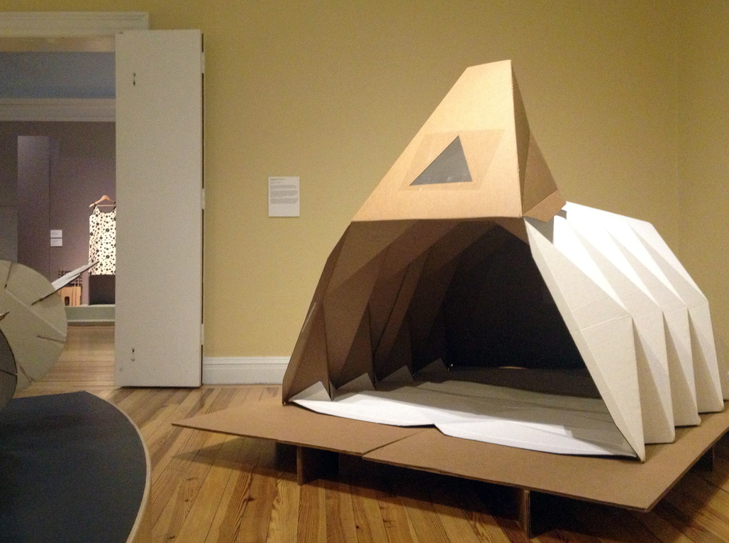 "The Cardborigami shelter is on display at the Berkshire Museums latest exhibit, ""PaperWorks: The Art and Science of an Extraordinary Material"" until October 2013."