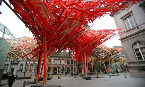 The €400,000 ($470K) centerpiece of Mons Capital of Culture has now been dismantled for fear of collapse. (via theguardian.com; Photograph: Olivier Berg/EPA)