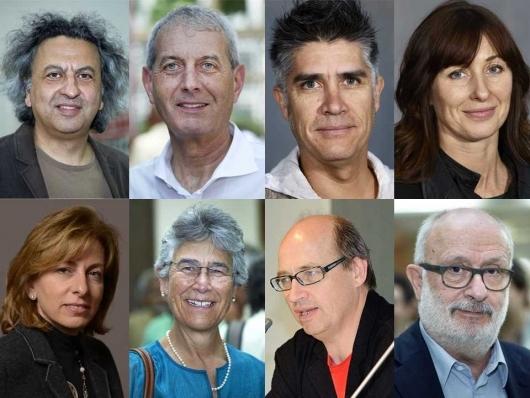 Global Holcim Awards 2015 Jury (First row, L to R): Mohsen Mostafavi, Marc Angélil, Alejandro Aravena, Maria Atkinson. (Second row, L to R): Meisa Batayneh Maani, Yolanda Kakabadse, Matthias Schuler, Rolf Soiron