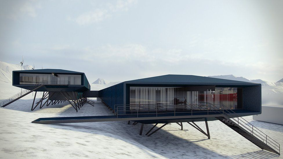 """Brazils Comandante Ferraz Antarctic research station by <a href=""""http://archinect.com/firms/cover/66652456/hugh-broughton-architects"""">Hugh Broughton Architects</a> - The upper block will contain cabins, dining and living space; the lower block will house laboratories and operational areas"""