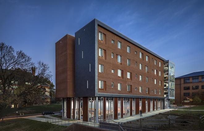 Gallaudet Universitys newest residence hall was designed specifically for deaf students by New York City-based LTL Architects. The 60,000-square-foot building is the first to fully employ architectural principles that cater to the communication and spatial needs of the hearing impaired. Image...