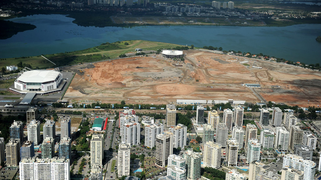 An aerial photo taken on May 10, 2013, shows the site of the future Olympic Park being constructed for the 2016 Summer Games to be held in Rio de Janeiro, Brazil. (NPR; Photo: Vandelerei Almeida/AFP/Getty Images)