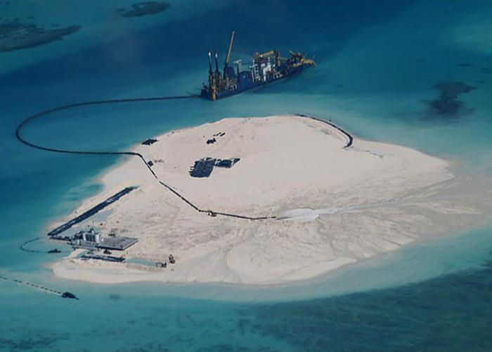 Chinese reclamation work on Johnson South Reef (Image- Philippine armed forces)