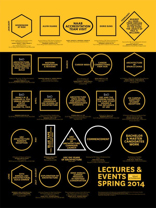 USC School of Architecture, Spring 14 Lectures and Events. Poster via arch.usc.edu