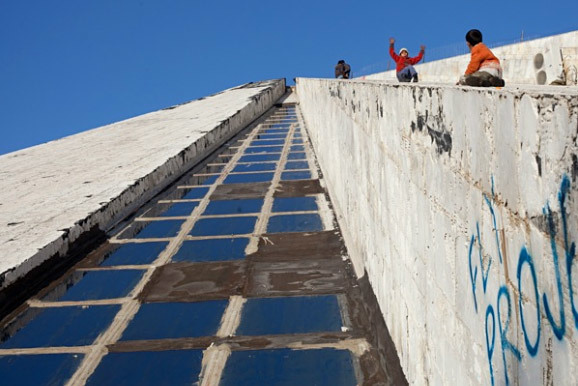 The future of the Hoxha Pyramid in Tirana, Albania is uncertain. (Photo: Jodi Hilton)