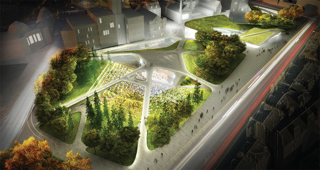 Aerial view of the winning proposal by Diller Scofidio + Renfro in collaboration with Keppie Design and OLIN (Image: Courtesy of Malcolm Reading Consultants)