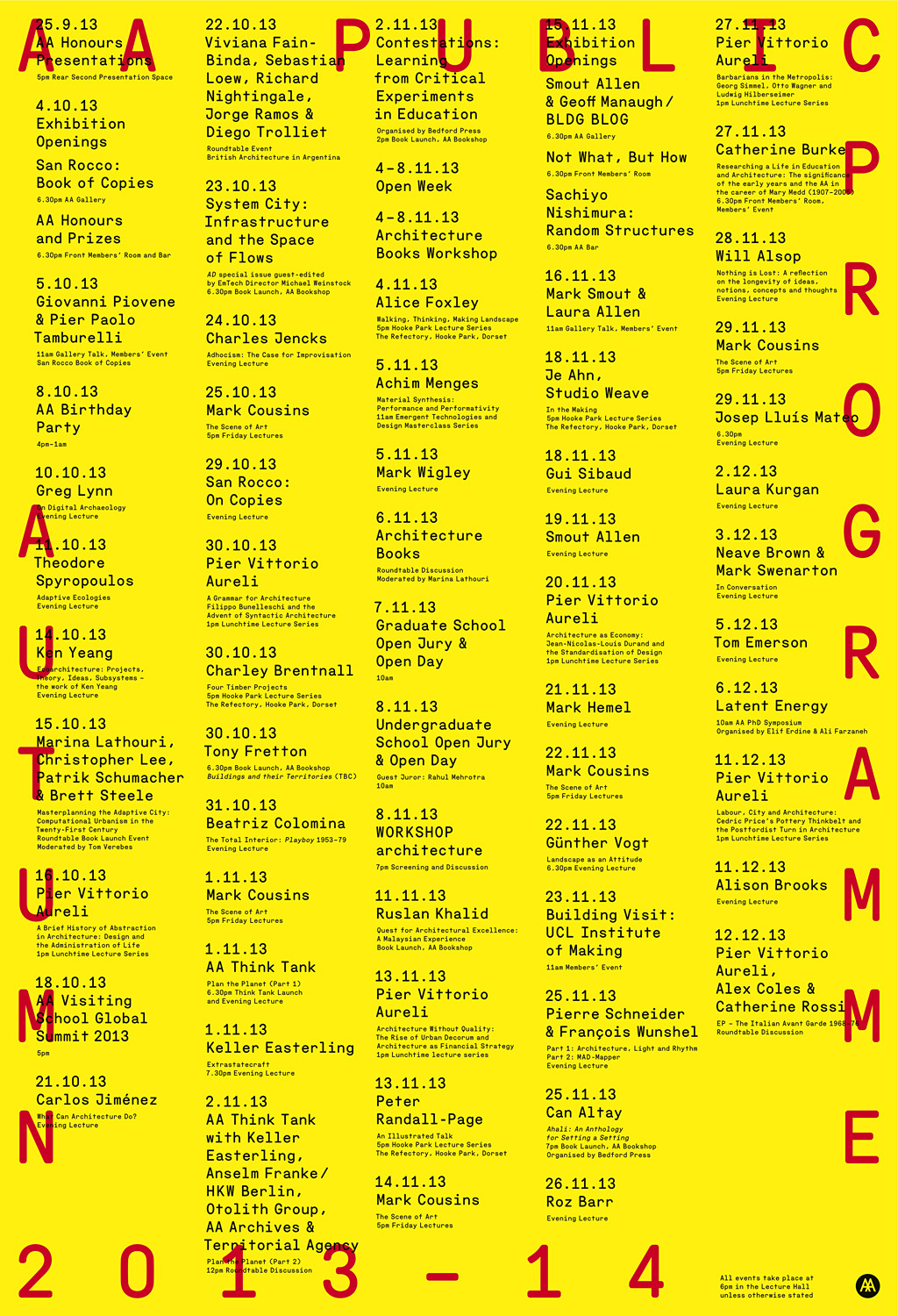 Poster for the Autumn 13 Public Program at the AA School of Architecture. Image courtesy of AA School of Architecture.