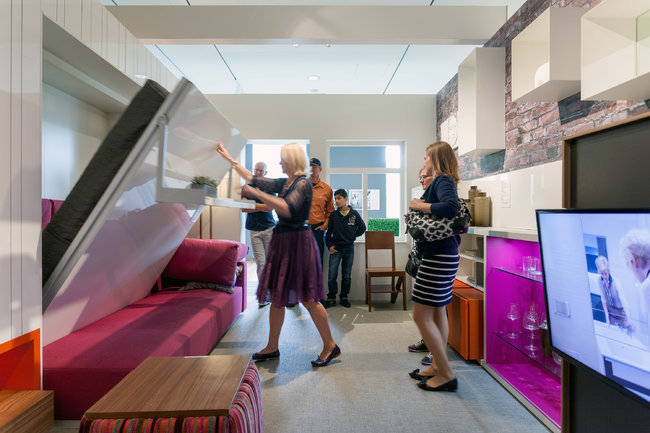 An exhibit at the Museum of the City of New York on micro-apartments, called Making Room, includes a full-scale 325- square- foot model apartment.