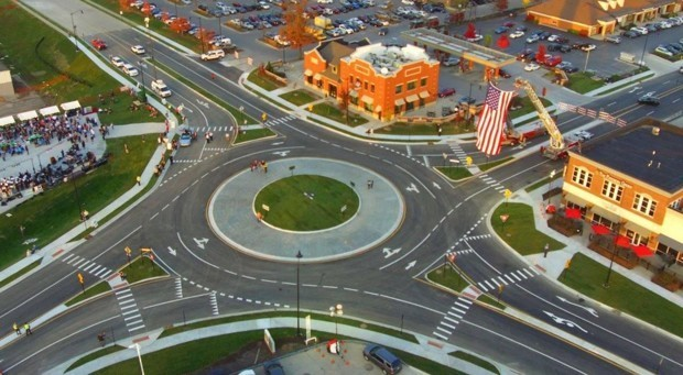 The photo shows Carmel, Indianas 100th roundabout (of now 102 total). Image via the citys Facebook page.