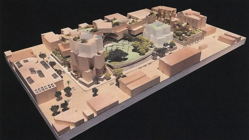Northwest aerial view of Gehry Partners + Townscape Developers proposed mixed-use campus in Beverly Hills. Image: Townscape Partners/Gehry Partners, via Curbed.