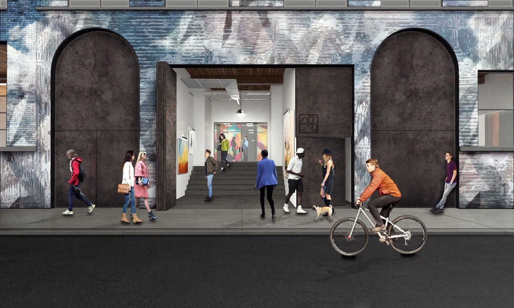 Entrance to Art Share L.A.s new space. Rendering courtesy of Lorcan OHerlihy Architects.
