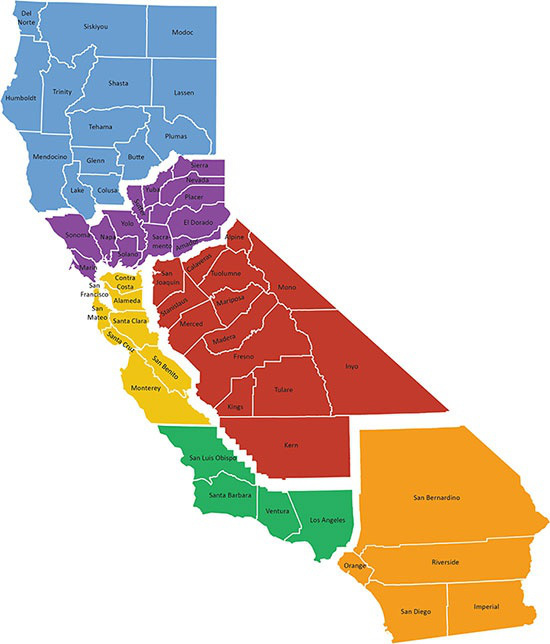"Map of the six proposed California States according to billionaire Tim Drapers ""Six Californias"" Plan"