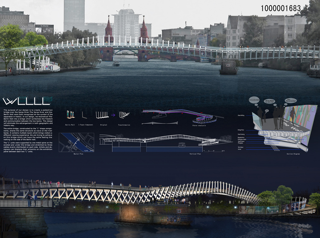 Second-Prize entry: Berlin Contemporary Bridge by Ra+b-Design. Image courtesy of Ra+b.