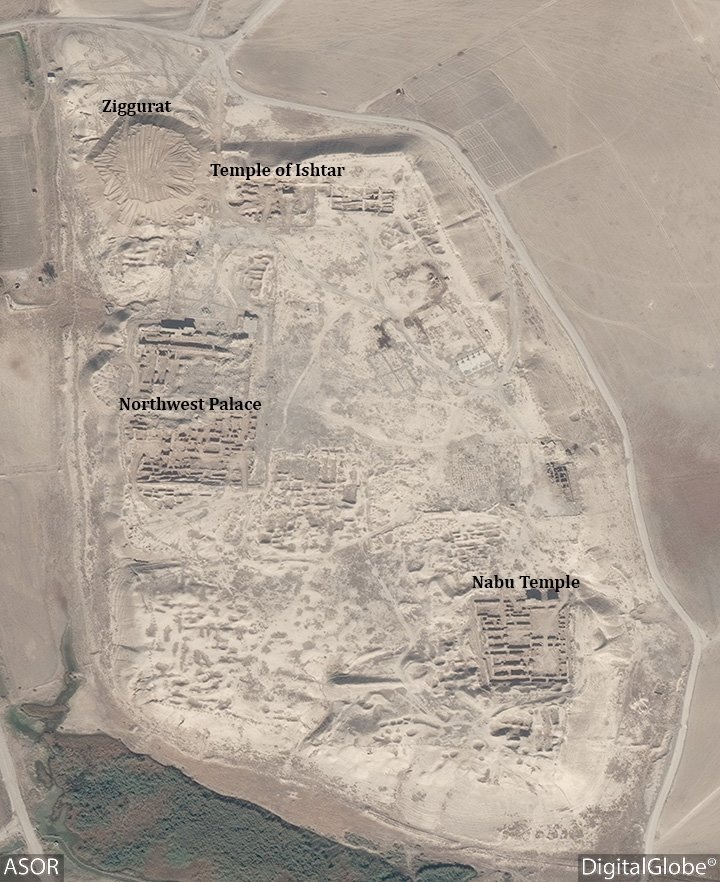 This DigitalGlobe satellite photo from November 4, 2016 shows the extend of destruction with heavy machinery tracks in Nimruds Temple of Ishtar and the area where the Ziggurat ruin once stood. Image via ASOR Cultural Heritage Initiatives Facebook page.