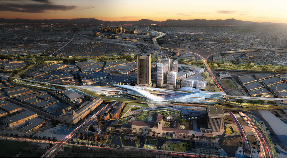 Aerial view of the master plan by UNStudio and EE&K a Perkins Eastman company, showing Los Angeles Union Station in the year 2050 (Image: UNStudio)