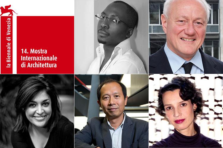 2014 Venice Biennale International Jury (clockwise): Kunlé Adeyemi, Francesco Bandarin, Bregtje van der Haak, Hou Hanru, Mitra Khoubrou