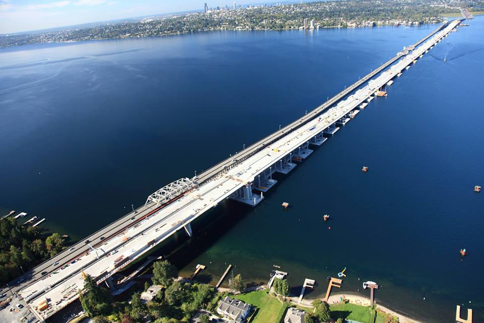 Seattles new State Route 520 floating bridge, now the longest floating bridge in the world, sits right next to the former owner of this honor: the old SR 520 floating bridge. (Image via the Washington State Department of Transportations Facebook page)
