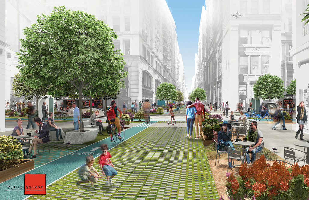 Public Square by FXFOWLE & Sam Schwartz Engineering.