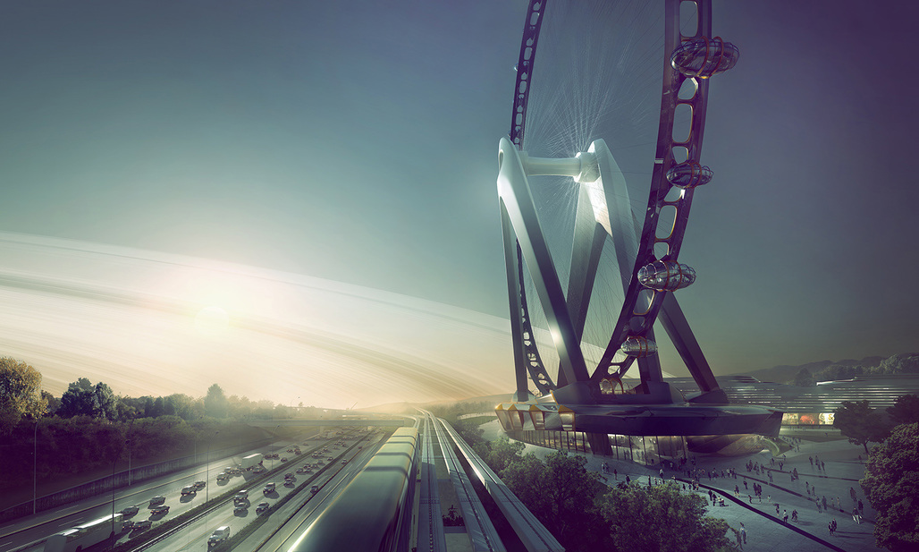 Rendering of UNStudios proposal for the Nippon Moon Giant Observation Wheel. Image courtesy of UNStudio.