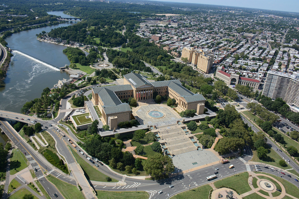 East Terrace Aerial Mockup. Image courtesy of the Philadelphia Museum of Art.