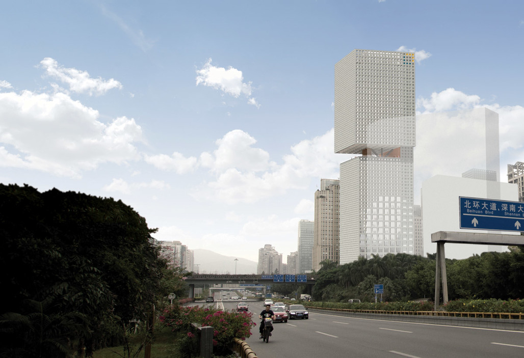 Highway view of the proposed Essence Financial Building in Shenzhen (Image courtesy of OMA)