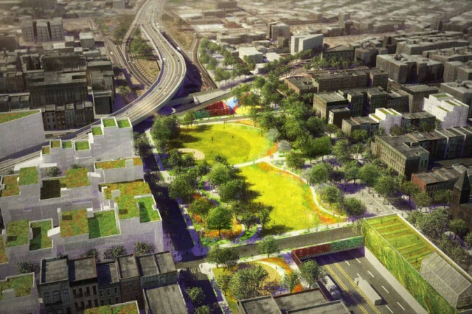 A rendering of the BQ Green in South Williamsburg, bridging together parts of the neighborhood now separated by the Brooklyn Queens Expressway. (dlandstudio)