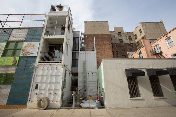 David Boyles home, made from six shipping containers, at 351 Keap Street. Ruth Fremson/The New York Times