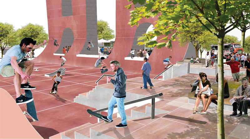 Rendering of the redesigned Coleman Oval Skate Park in Manhattan by HAO / Holm Architecture Office with VM Studio (Image: HAO / Holm Architecture Office)
