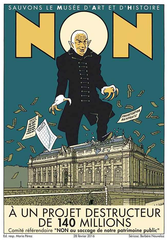 The campaign poster against Nouvels extension plans of the Geneva Musée d'art et d'histoire makes the oppositions feelings about the architect fairly clear.