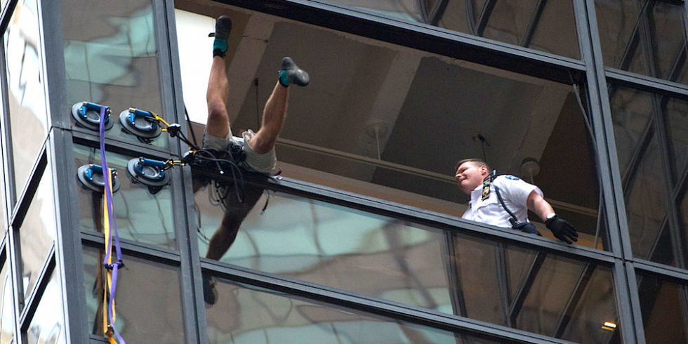 """Steve from Virginia"" being pulled through a window. Image via esquire.com"
