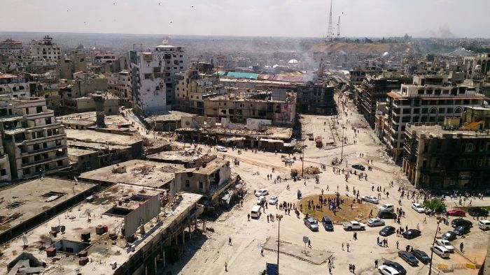 Aerial view of the war-ravaged city of Homs, Syria. (Image: Marwa Al-Sabouni; via abc.net.au)