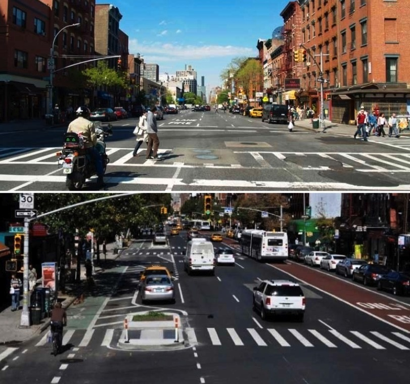 FHWA's Dan Goodman pointed to before-and-after images from New York's First Avenue redesign to show how protected bike lanes can improve safety. (StreetsBlog USA; Photos: David Shankbone/Wikimedia and NYC DOT)