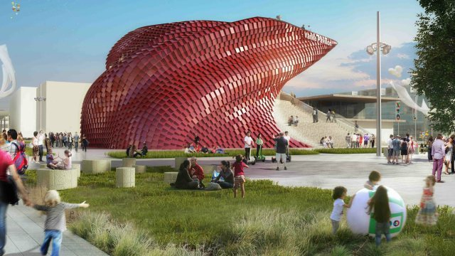 One of Chinas five pavilions at the 2015 World Expo in Milan is the Daniel Libeskind-designed China Vanke pavilion. (Image via qz.com)