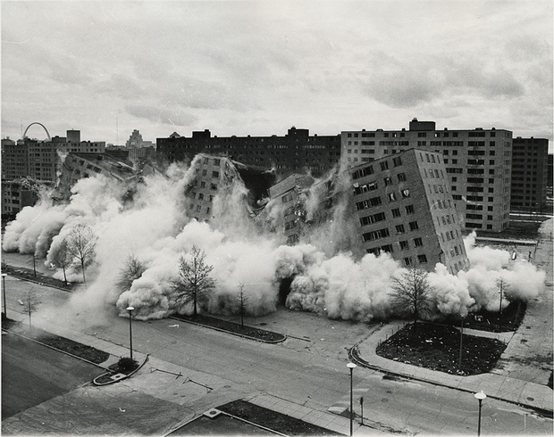 The Pruitt-Igoe projects being razed in 1972. (CityLab; Image: U.S. Department of Housing and Urban Development Office of Policy Development and Research/Wikimedia Commons)