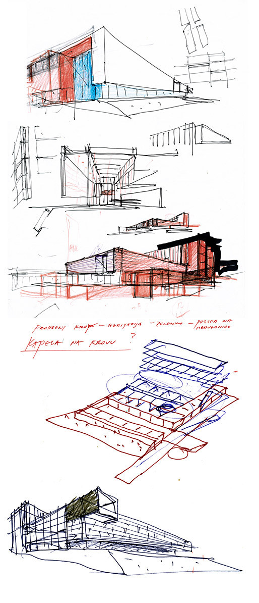 preliminary sketch of design for Administrative Building of the Croatian Bishops Conference