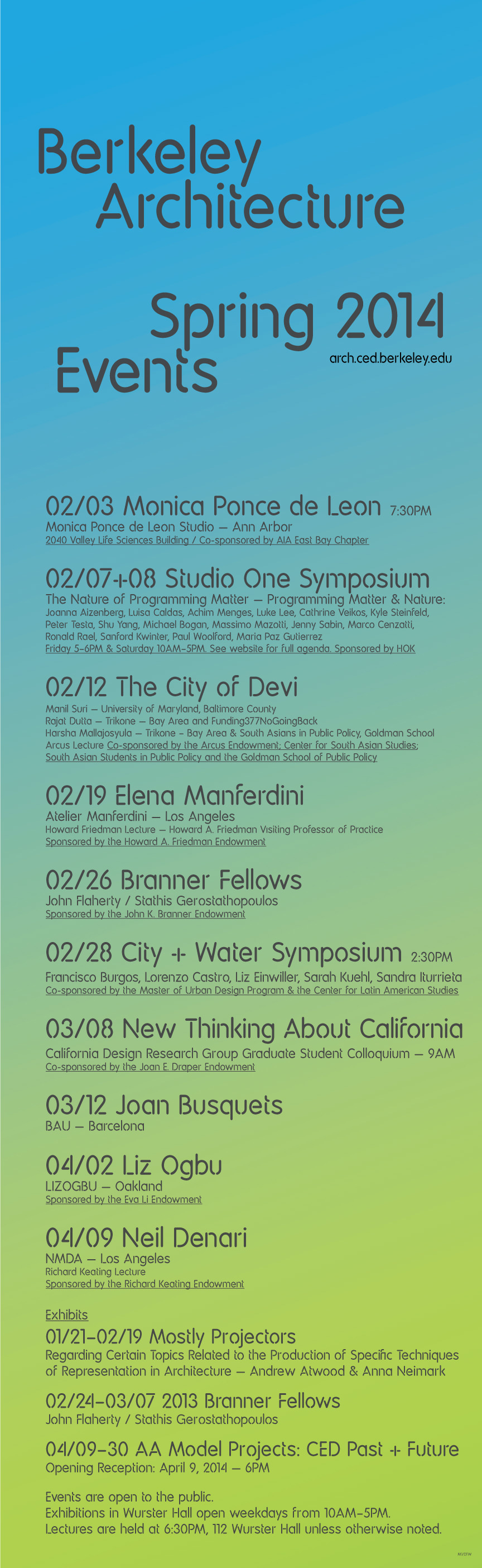 UC Berkeley College of Environmental Design, Spring 14 Lecture Events. Image courtesy of UC Berkeley CED.